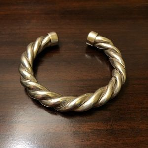 Jewelry - Vintage Thick Sterling Silver Rope Braided Cuff